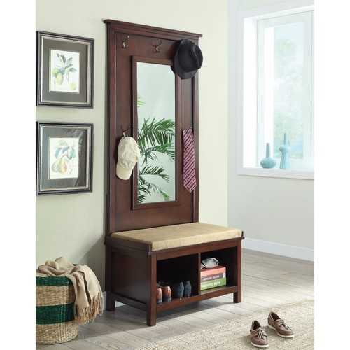 Hall Tree With Storage Bench And Mirror, Brown