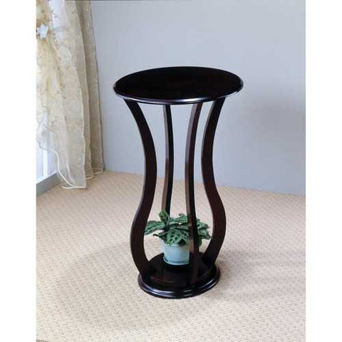 Contemporary Plant Stand With Bottom Storage Shelf, Brown