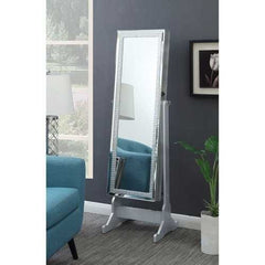 Captivating Jewelry Cheval Mirror With Interior Storage, Silver