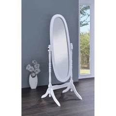 Traditional Oval Shaped Cheval Mirror, White