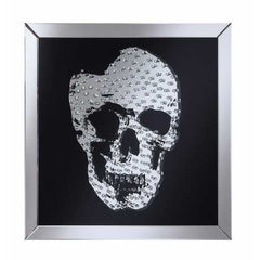 Adorning Wall Mirror With Jeweled Skull, Clear And Black