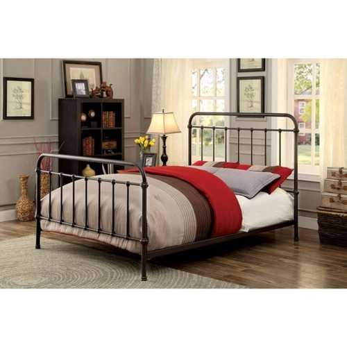 Metal Eastern King Size Platform Bed with Headboard & Footboard, Deep Bronze