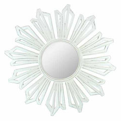 Sun Burst Pattern Wooden Framed Mirror, White