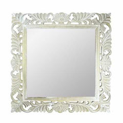 Beautifully Carved Mirror With Wooden Frame, White