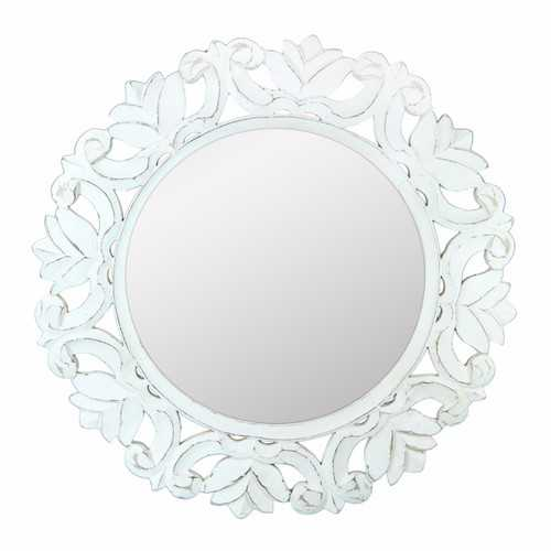 Distressed Wooden Framed Mirror, White