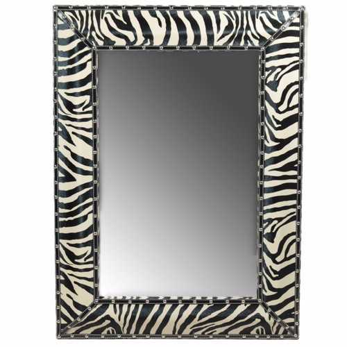 Well Designed Striped Wooden Mirror, Black And White