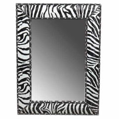 Enchantingly Striped Wooden Mirror, Black And White