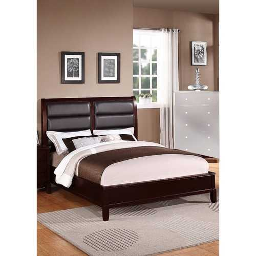 Wooden E.King Bed With Boxed Faux Leather HB, Medium Cherry