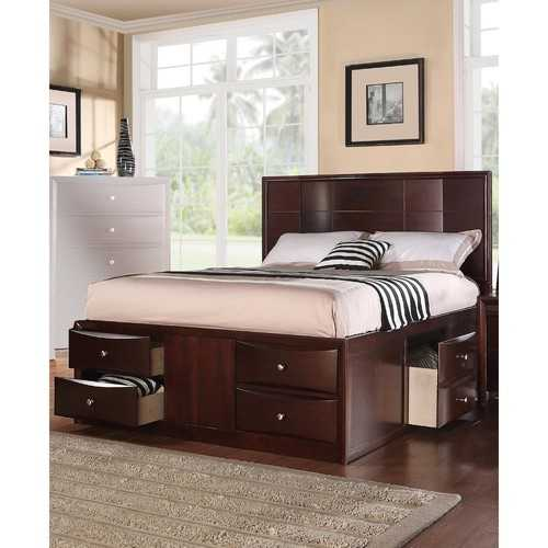 E.King Bed With 6 Under Bed Drawers, Espresso Finish