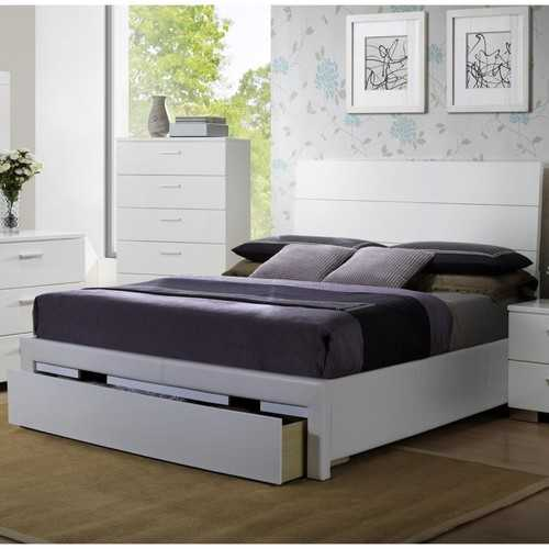 Wooden E.King Bed With Side Rail And Storage