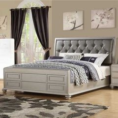 Wooden E.King Bed With Shinny Gray PU-HB, Silver Finish