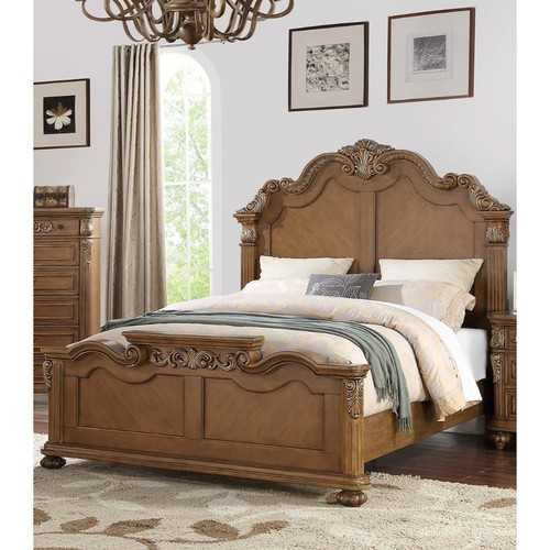 C.King Wooden Bed, Light Brown And Veneer Finish