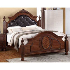 Wooden E.King Bed With PU-HB & Circular Floral Design, Cherry Finish