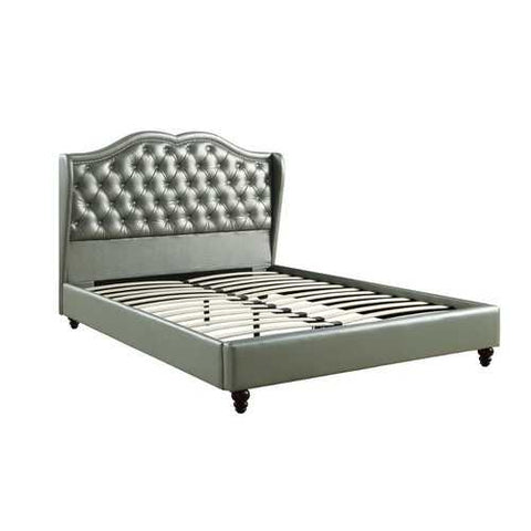 E.King Wooden Bed With PU Tufted Headboard, Silver