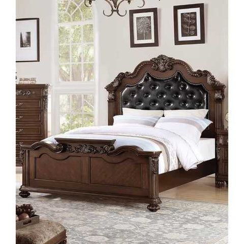 Carved & Upholstered Black PU Tufted Wooden C.King Bed Dark Walnut