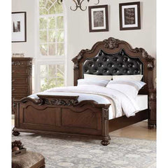 Carved & Upholstered Black PU Tufted Wooden E.King Bed Dark Walnut