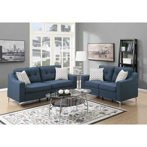 Polyfiber 2 Pieces Sofa Set With Black Welt Trim Blue