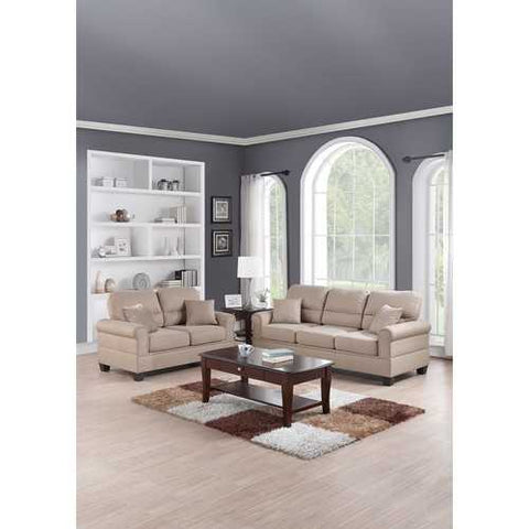 Fabric  2 Pieces Sofa Set With Pillows In Beige