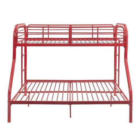 "56"" X 79"" X 55.5"" Twin Over Full Red Metal Bunk Bed"