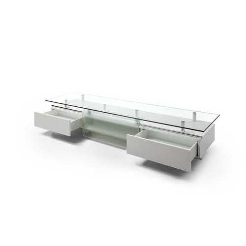 "Tv Unit 1/2"" Tempered Clear Glass Top, High Gloss White, Sliding Frosted Glass Door"