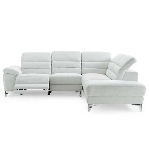 Sectional, Chaise On Right When Facing, White Top Grain Italian Leather