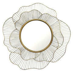 "28.25"" X 2.5"" X 28.25"" Gold Flower Shape Wall Mirror"