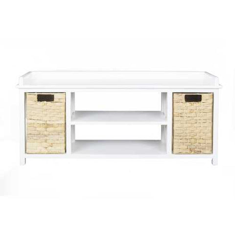 "18"" White MDF and Rattan Storage Bench with 2 Baskets"