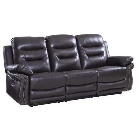 "44"" Comfortable Brown Leather Sofa"
