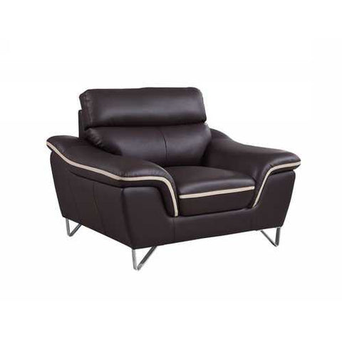 "36"" Contemporary Brown Leather Chair"