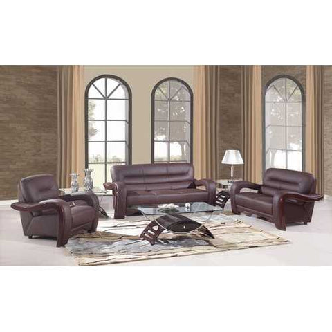 "105"" Glamorous Brown Leather Sofa Set"