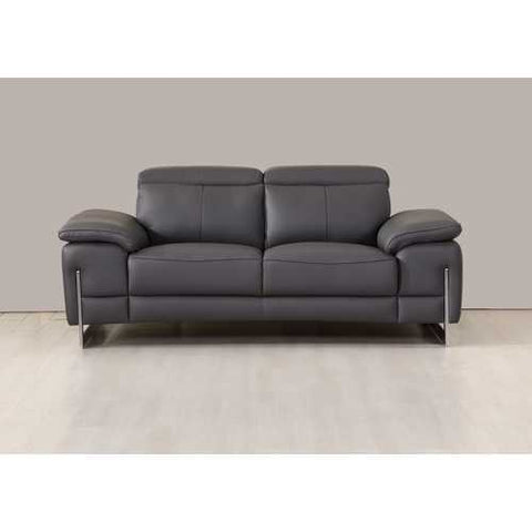 "93"" Tasteful Dark Grey Leather Sofa Set"