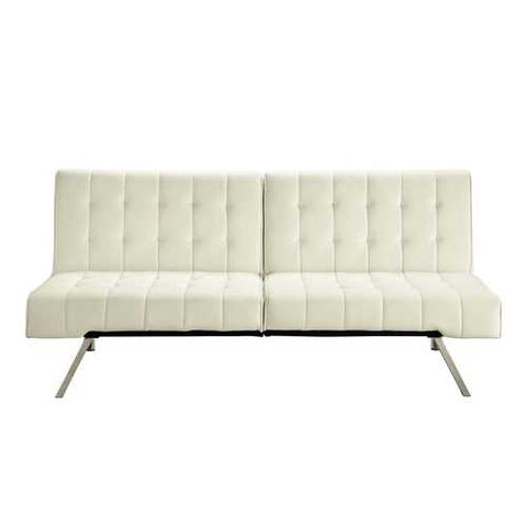 Splitback Multi-Position Futon Sofa Sleeper in Vanilla