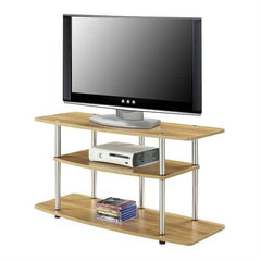 Modern Wood Metal TV Stand Entertainment Center in Light Oak Finish