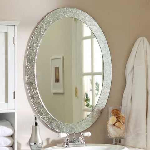 Oval Frame-less Bathroom Vanity Wall Mirror with Elegant Crystal Look Border