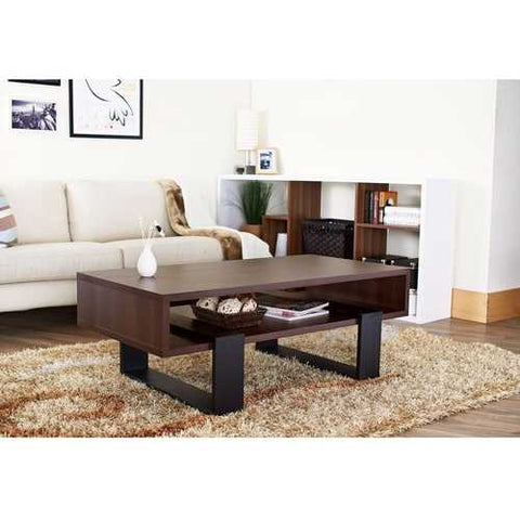 Modern Coffee Table in Black and Walnut Brown Finish