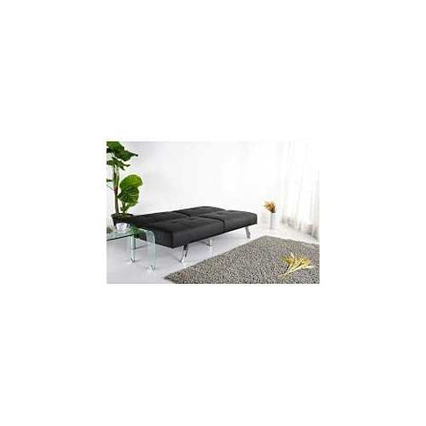 Black Leatherette Foldable Click-Clack Futon Sofa Bed