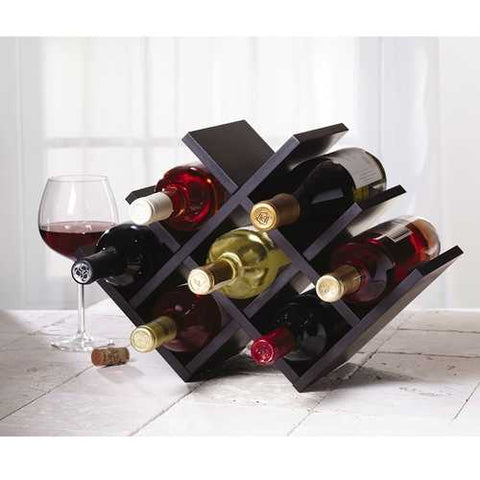 8-Bottle Mariposa Wine Rack Modern Design Dark Brown Finish