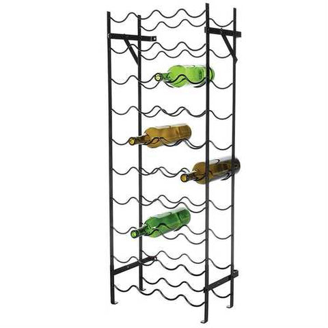 Black Metal 40-Bottle Wine Rack with Wall Anchors