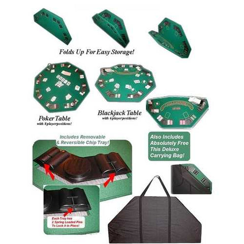 Poker & Blackjack High Quality Folding Table Top w/ Case