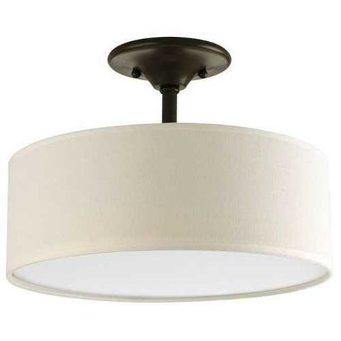 Semi-Flush Mount Ceiling Light w/ Round Off-White Linen Drum Shade in Antique Bronze