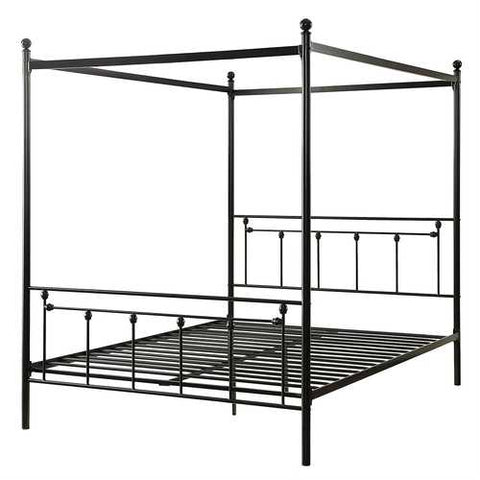 Queen Sturdy Metal Platform Bed Frame with Canopy in Black Metal Finish