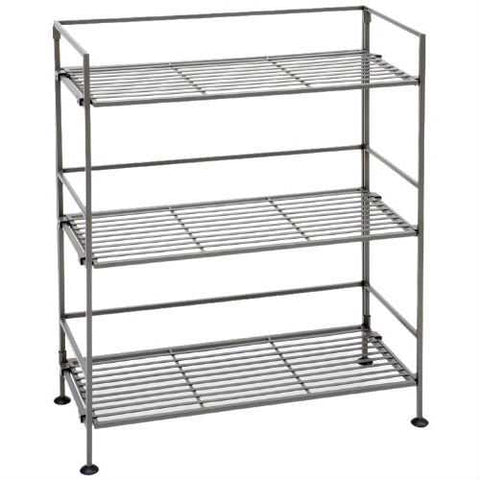 3-Shelf Iron Rectangular Folding Metal Bookcase Storage Shelves