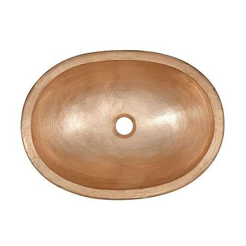 Pure Copper 19-inch Oval Bathroom Sink Unfinished