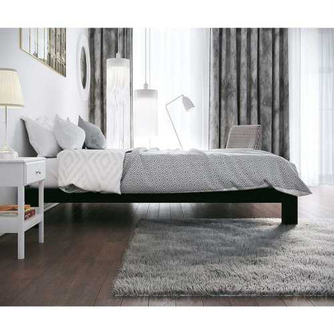 Twin Black Metal Platform Bed Frame with Wide Wood Slats