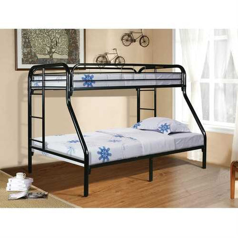 Twin over Full size Sturdy Black Metal Bunk Bed with Ladder
