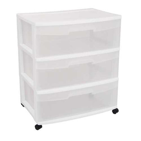 Mobile 3-Drawer Storage Cart Wardrobe Home Storage Cabinet in Clear White