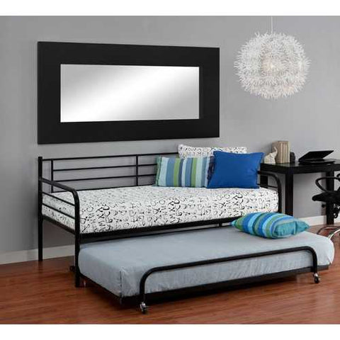 Twin size Roll Out Trundle Bed Frame in Black Metal