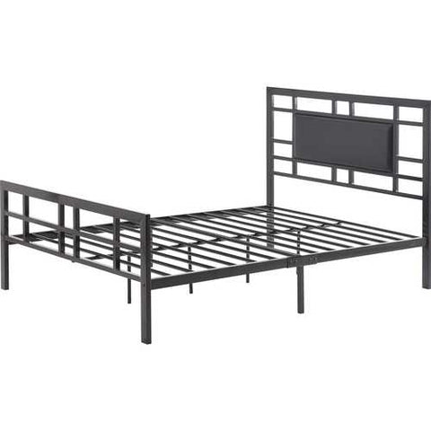 Twin Metal Platform Bed Frame with Black Upholstered Center Panel Headboard