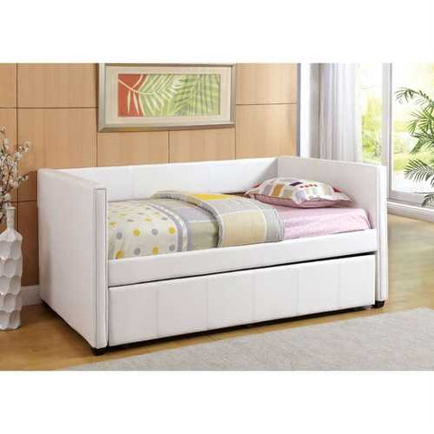 Twin White Faux Leather Upholstered Daybed with Trundle Bed