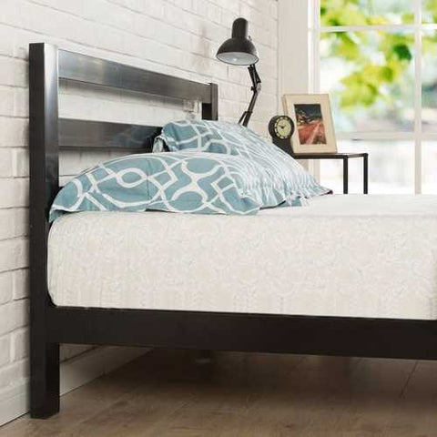 Twin size Modern Metal Platform Bed Frame with Headboard And Wood Support Slats